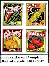 Summer Harvest Complete Block 4 Mint REMOUNTED Booklet Stamps Scott 5004 -5007