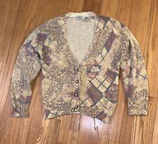 New listing de rotchild Vintage 80s 90s Sweater Floral Cardigan Silk Angora Blend Grunge M