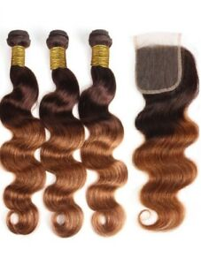 Two Tone Ombre Color 4 30 Body Wave 3 Bundles with Closure 12 inch to 28 in