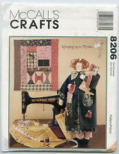 MCCALL'S CRAFTS 8206 23 INCH SEWING RAG DOLL+ DOLL CLOTHES + QUILT UC
