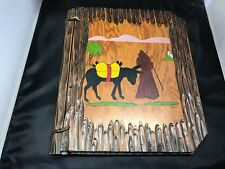 VINTAGE PHOTO ALBUM 1938 HAND PAINTED AND MADE OF WOOD IT HAD DATED PHOTOS 1938