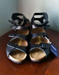 New Birkenstock Athens Black Leather Ankle Strap Gladiator Women Sandals Size 41