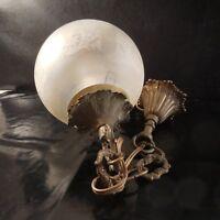 Eclairage lustre globe art nouveau verre cuivre bronze fait main France N3464