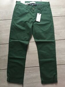 """Ben Sherman Mens Green Classic Chino Trousers Size 34"""" W 32"""" L. New With Tags."""