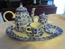 Small vintage blue and white tea set tray teapot creamer teacup saucer - NATLOT
