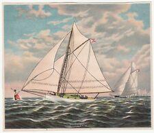 RARE Original Lithograph Print- Sailboat Germania Schooner 1880s by Bufford
