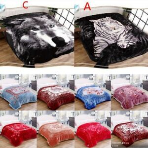 2Ply Reversible Blanket Thick Heavy Faux Fur King size Mink Throw animal blanket