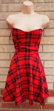 PARISIAN COLLECTION RED CHECK TARTAN PADDED BRA BANDEAU SKATER FLIPPY DRESS L 14