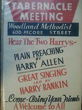 VINTAGE TABERNACLE MEETING CARDBOARD ADV SIGN WOODLAND METHODIST 22 1/4 X 14 1/2