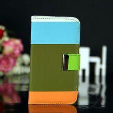 Samsung Galaxy S4 Flip Tasche Case Hülle Motiv Cover Visitenkarten Blau Grün