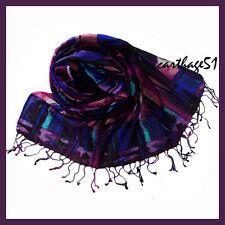 Etole Echarpe 100 % Laine - Bleu violet mauve rose noir - motifs abstraits