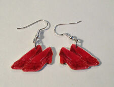 Ruby Red Slippers Earrings Wizard of Oz Dorthy Red Shoes Charms