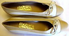 SALVATORE FERRAGAMO Classic Beige Lace up Italian Leather Flats Size 7 AAAA