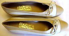 SALVATORE FERRAGAMO Classic Beige Lace up Italian Leather Flats Size 7 AAAA