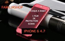 Housse étui pochette coque rabat silicone rouge iphone 6 4.7 + 1 film