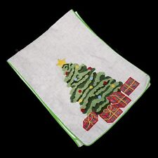 Christmas tree punch needle embroidery table runner holiday applique presents