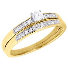 14K Yellow Gold Bridal Set Round Cut Diamond Wedding Engagement Ring 0.22 Ct.
