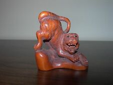 Netsuke Tigre Wild Cat (4) Figurine Japanese Handmade Carving Handcarved signed