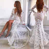 Women Deep V-neck Long Sleeve White Lace Mermaid Wedding Front Slit Sexy Dresses