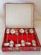 A set of six continental silver tea/ coffee spoons.Aztec symbols .800 standard