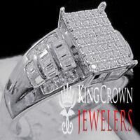 Ladies Baguette Cut Wedding Ring Engagement Womens Diamond Band White Gold Tone