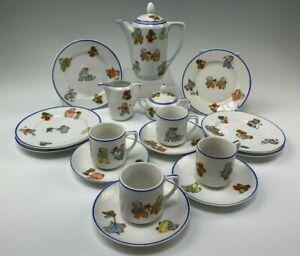 Delightful 13-Pc German Porcelain Child's Tea Set Happy Fats Kids Decoration