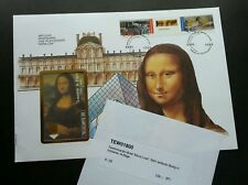France Mona Lisa Painting 1993 (phonecard stamp FDC) *gold foil *unusual *rare