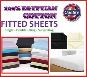 100% EGYPTIAN COTTON 200TC FITTED SHEET OR PILLOWCASES SINGLE DOUBLE KING S/KING