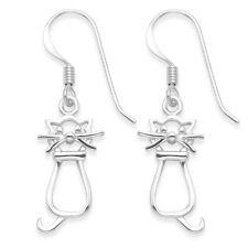 Funky 925 Sterling Silver Open Design Forward Facing Cat Drop Earrings