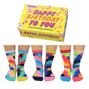 HAPPY BIRTHDAY ODD SOCKS LADIES  UK 4 - 8 UNITED ODDSOCKS GIFT BOX GIFT IDEA