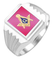 Two Tone Sterling Silver Gold Plated Masonic Freemason Mason Solid Back Ring