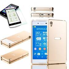 Paraurti Alluminio 2 Pezzi Oro + 0,3 H9 Vetro Temperato per Sony Xperia Z3 Plus