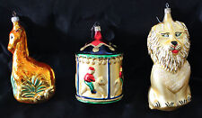 "Lot 3 Large Blown Glass Christmas Ornaments Carousel Lion Giraffe 6"" - 8"""
