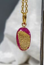 Gold Plated Petite Ruby Druzy Pendant with Chain