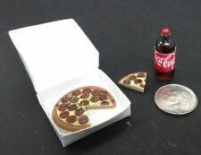 Dollhouse Miniature Pepperoni Pizza in box & 2 Liter Cola 1:12 scale