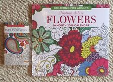 Lot of 2 Brand New Flowers Paisley Adult Coloring 16 Month 2018 Calendar Planner