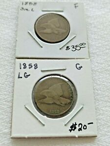 (2) 1858 Flying Eagle Cents Pennies 1-Small 1-Large Letters