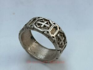 Collection Old Chinese Tibet Silver Carving Ring Decoration Gift
