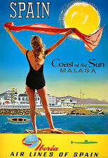 Travel Spain Malaga Iberia Airlines  Vacation  Holiday  Poster Print