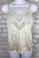 Vintage Vanity Fair Camisole Cami V Neck Lace Front Ivory Satin  Nylon Size 34