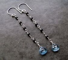 SWISS BLUE TOPAZ AND BLACK SPINEL SILVER STERLING DANGLE EARRINGS - FREE POSTAGE