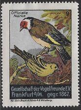 German Poster stamp: 1911 Society of Bird Friends, Frankfurt, est.1867- cw47.43