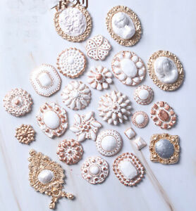 Vintage Diamond Brooch Silicone Mould Cake Decor Sugar Jewelly Chocolate Mold 3D