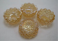 4 MARIGOLD GLASS DIAMOND POINT OPEN SALT CELLAR DIPS