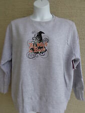 NWTJust My Size 5X Halloween Witches Hat Graphic Crew Neck  Sweatshirt Heth Gray