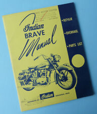 1940's 1950's Indian Motorcycle Original Factory Manual Book Brave Models Scout