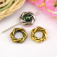 25Pcs Tibetan Silver,Antiqued Gold,Broze Twist Bead Frame Jewelry DIY M1156