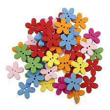 Practice 100Pcs Multi-color 2 HolesFlower Wooden Fit Sewing Decorative Buttons