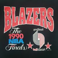 Vintage 1990 NBA Finals Portland Trail Blazers T-Shirt L Black Playoffs Royal