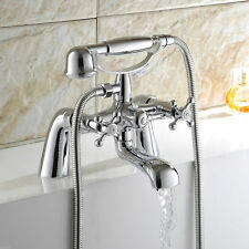 Victorian Traditional Bathroom Bath Shower Filler Mixer Tap Handset Chrome Brass